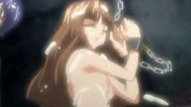 Anime lesbians in dungeon suck tits
