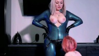 Strap-on suck and facesitting in latex catsuit FemDom Video